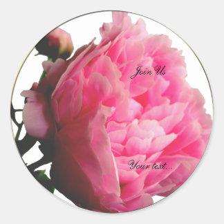 Sellos de encargo del sobre del Peony rosado delic