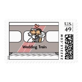 Sellos de la celebración del tren del boda de