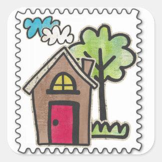 sellos de la falsificación pegatina cuadrada