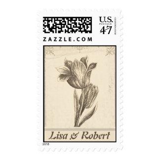 sellos de la flor del amor del tulipán del vintage