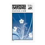 Sellos de la flor del boda - floral abstracto azul