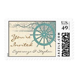 sellos de la invitación del boda del viaje