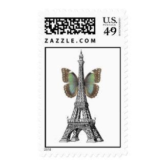 Sellos de la mariposa de la torre Eiffel de París