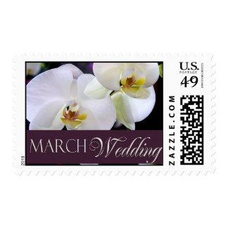 Sellos de la orquídea del boda de marzo -
