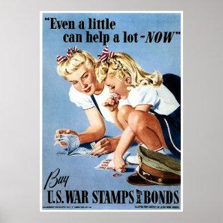 Sellos de la ración de WWII y enlaces de guerra Poster