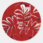 Sellos de la tarjeta roja de la nieve del navidad etiqueta redonda