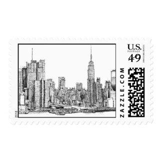 Sellos de la tinta del horizonte de Nueva York