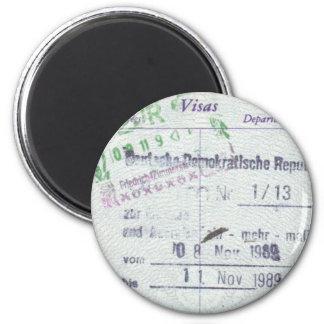 Sellos de la visa y de la entrada de la Alemania O Imán Redondo 5 Cm