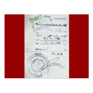 Sellos de la visa y de la entrada de la Alemania O Tarjetas Postales