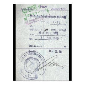 Sellos de la visa y de la entrada de la Alemania O Postal