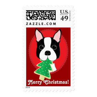 Sellos de las Felices Navidad de Boston Terrier
