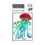 Sellos de las medusas de la aguamarina
