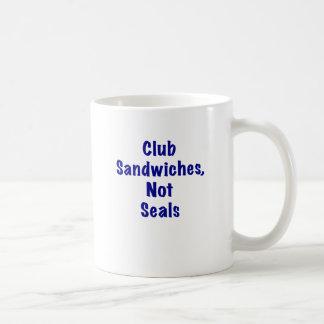 Sellos de los bocadillos de club no tazas de café