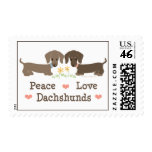 Sellos de los Dachshunds del amor de la paz