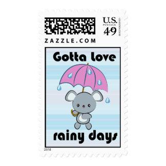 Sellos de los días lluviosos del ratón y del parag