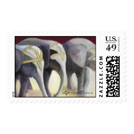 Sellos de los elefantes del circo
