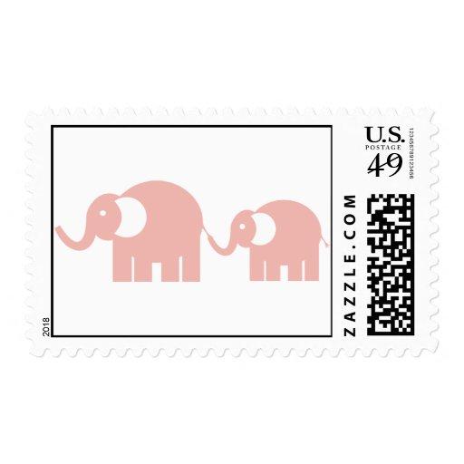 Sellos de los elefantes rosados
