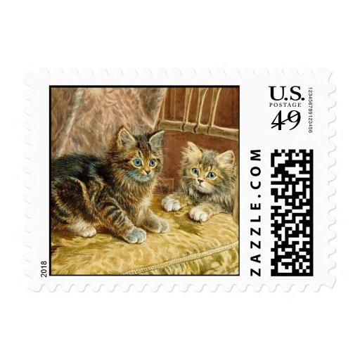 Sellos de los gatos del gatito del vintage - arte