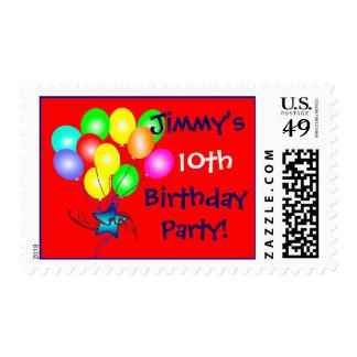 Sellos de los globos del nombre y del cumpleaños