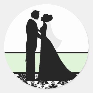 Sellos de los pares del boda de la menta etiqueta redonda