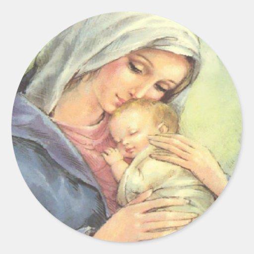 Sellos de los pegatinas de la fe de Jesús del bebé Pegatina Redonda