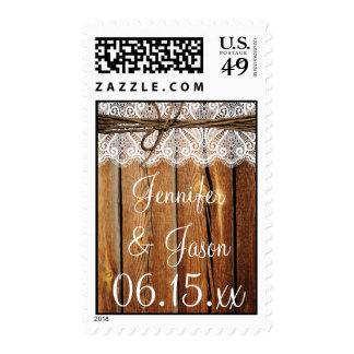 Sellos de madera del boda de la guita del cordón d