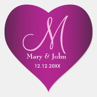 Sellos de moda del monograma del boda de las rosas pegatina en forma de corazón