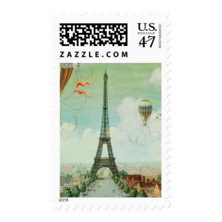 Sellos de París de la torre Eiffel del vintage