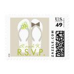 sellos de RSVP de los flips-flopes del verde de la