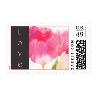 Sellos del amor - franqueo rosado del tulipán