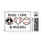 Sellos del béisbol del amor de la paz