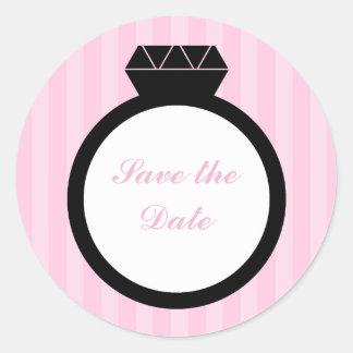 Sellos del boda del anillo de compromiso pegatina redonda