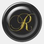Sellos del boda en la letra R del oro Etiqueta Redonda