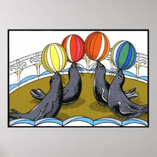 Sellos del circo (en 23 tamaños) póster