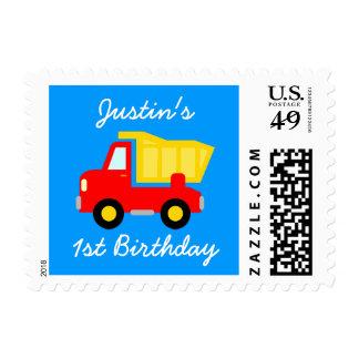Sellos del cumpleaños del camión volquete de la