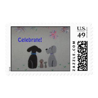 sellos del día de fiesta con diseño del perro