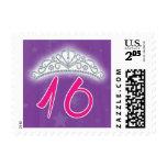Sellos del dulce 16 - tiara púrpura y rosada