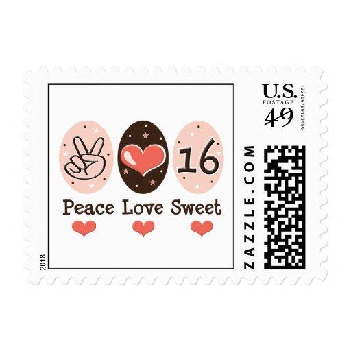 Sellos del dulce dieciséis del amor de la paz