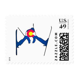 Sellos del esquiador de la bandera de Colorado