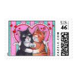Sellos del gato de la tarjeta del día de San Valen