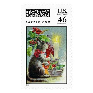 Sellos del gato del navidad del vintage
