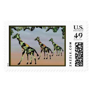 Sellos del hábitat de la familia de la jirafa