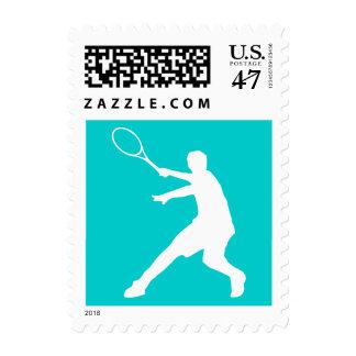 Sellos del jugador de tenis con color de fondo de