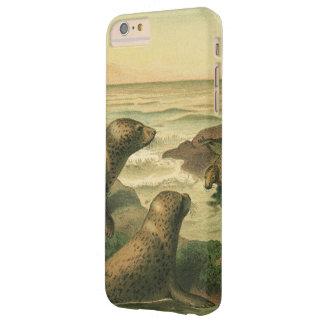 Sellos del leopardo del vintage, animales de los funda de iPhone 6 plus barely there