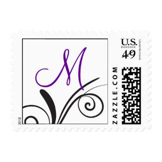 Sellos del monograma de los remolinos púrpuras