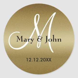 Sellos del monograma del boda de oro pegatina redonda