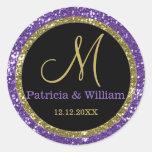 Sellos del monograma del boda del oro del brillo etiquetas redondas