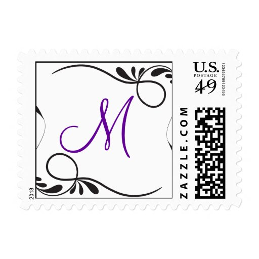Sellos del monograma del remolino púrpuras