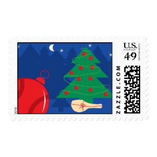 Sellos del navidad con el árbol y la estafa de