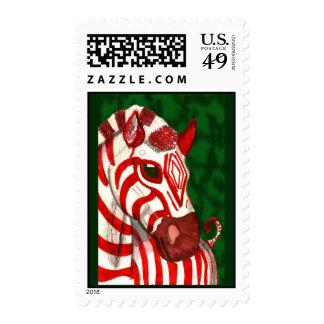 Sellos del navidad de la cebra del bastón de caram